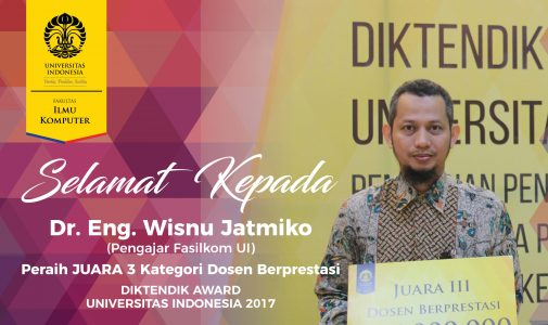 Dr. Eng Wisnu Jatmiko Raih Penghargaan Dosen Berprestasi ke-3 Universitas Indonesia 2017